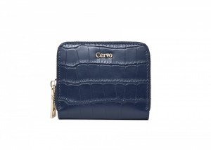 192074 CROC EMBOSSED LEATHER ZIPPED WALLET